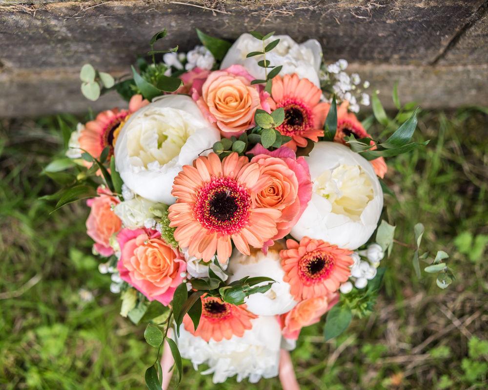 Peony and gerbera bouquet for bride, Barnsley wedding photographers