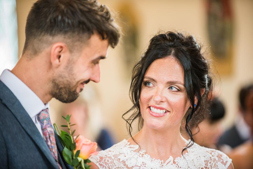 Bride meeting groom at end of aisle, Sheffield weddings