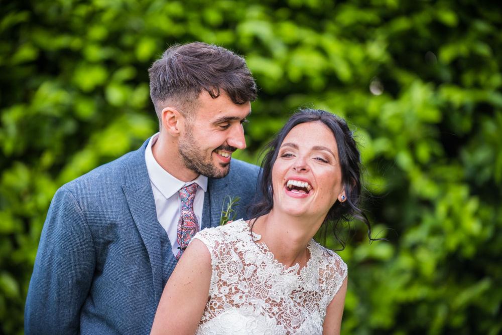 Laughing bride and groom, Sheffield weddings