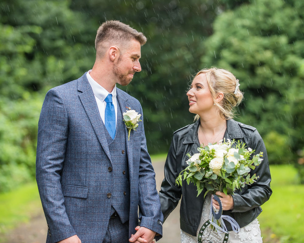 Rainy wedding portraits in Carlisle, wedding photographers Carlisle register office elopement wedding Lake District