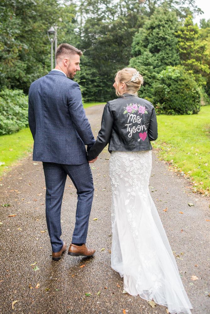 Alex's personalised leather jacket,  wedding photographers Carlisle register office elopement wedding Lake District