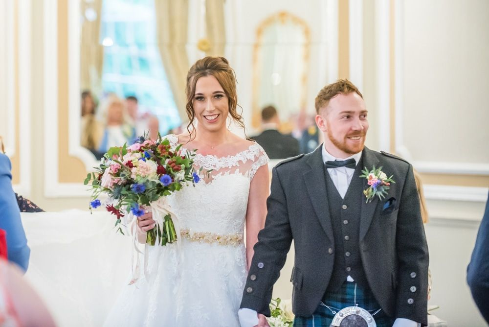 Walking out of ceremony as Mr and Mrs, Sheffield wedding photographers, Ringwood Hall Hotel