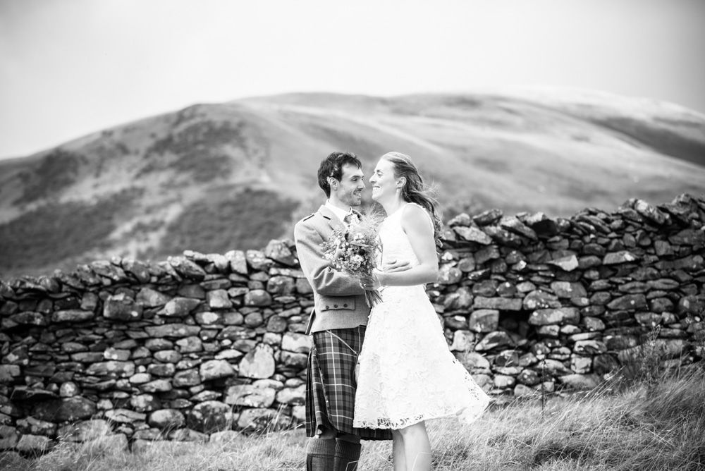 Black and white bridal portrait, Howgills wedding, Sedbergh, Lake District wedding photographers