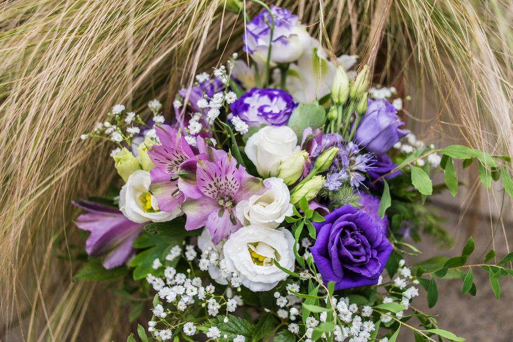 Brides bouquet in purple, Shireburn Arms, Lancashire wedding photographers