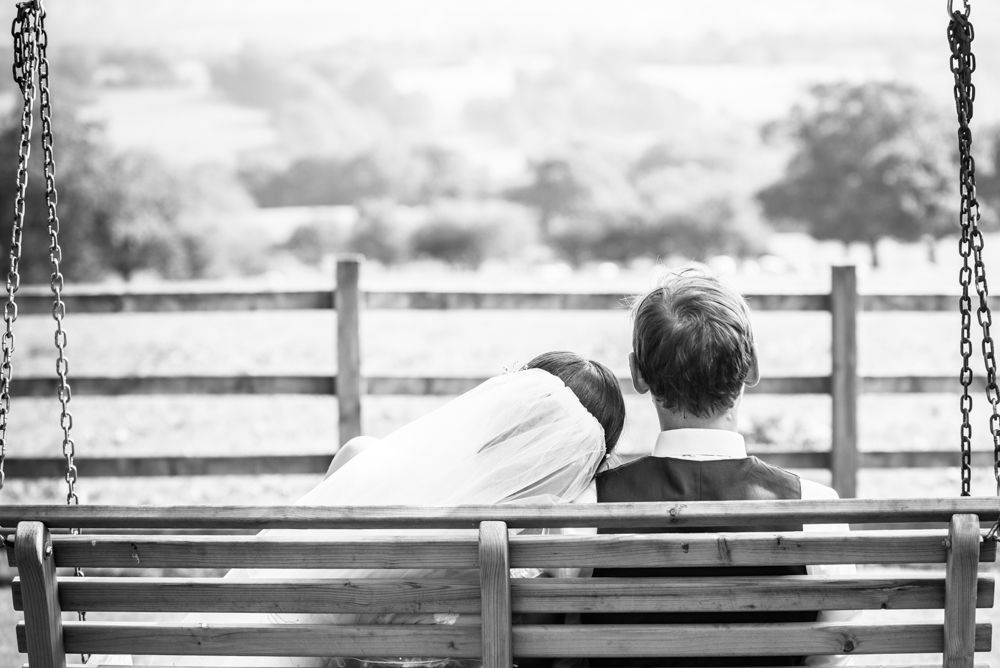 Looking at the view from the swing, Shireburn Arms, Lancashire wedding photographers