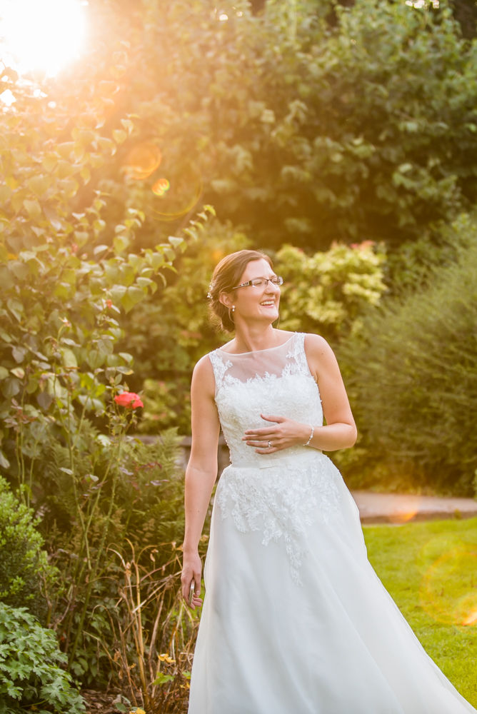 Bride in sunset light, Shireburn Arms, Lancashire wedding photographers