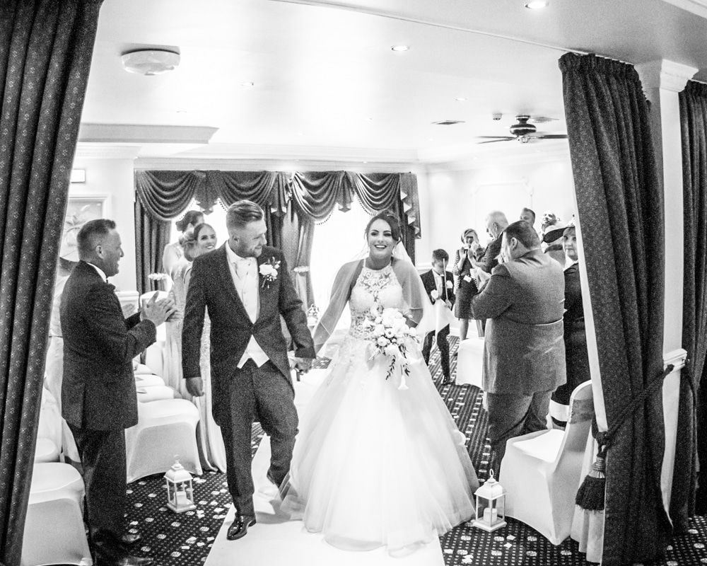 Walking out of ceremony, Waterton Park Hotel weddings, Yorkshire wedding photographers