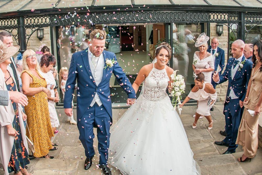 Confetti walk, Waterton Park Hotel weddings, Yorkshire wedding photographers