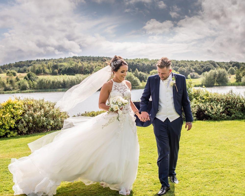 Veil blowing in breeze, Waterton Park Hotel weddings, Yorkshire wedding photographers