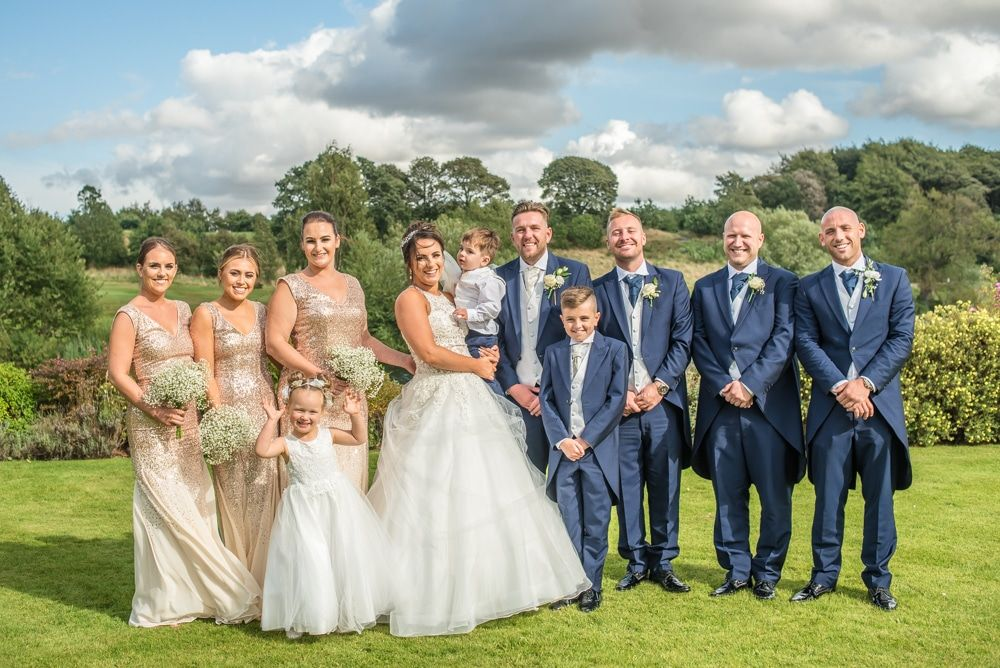 Bridal party group photo, Waterton Park Hotel weddings, Yorkshire wedding photographers