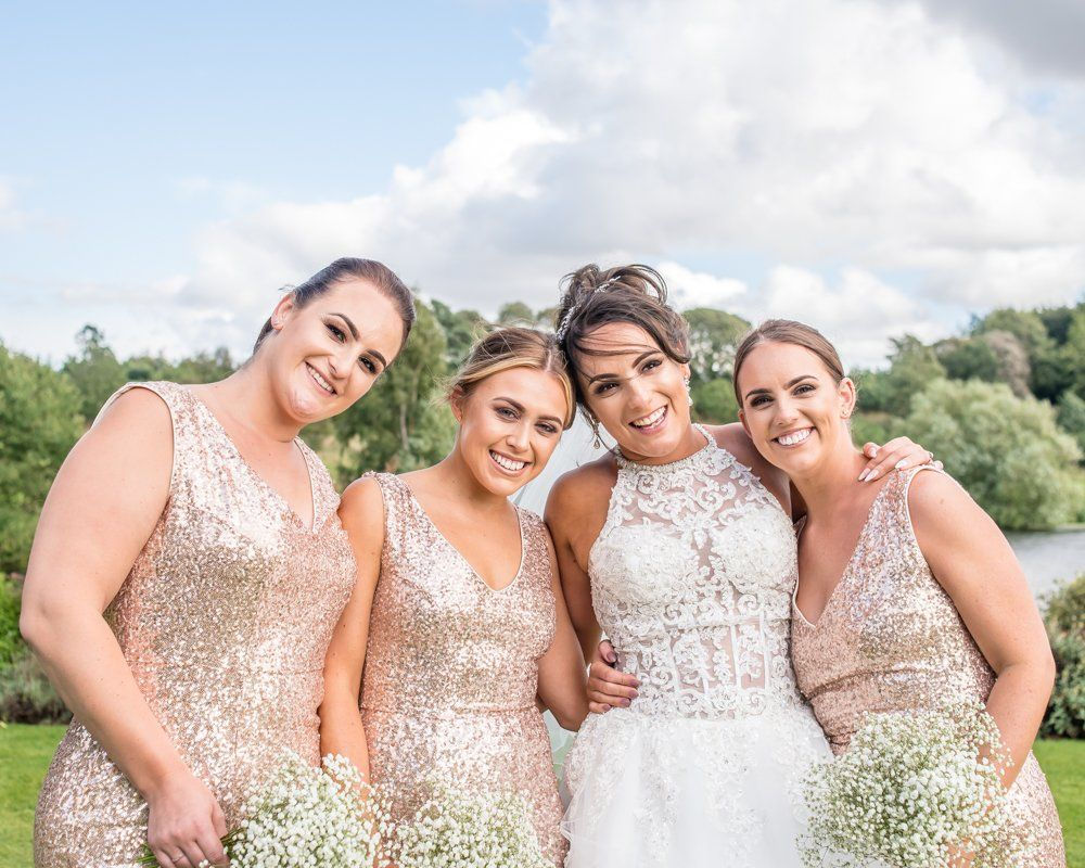 Bride and bridesmaids, Waterton Park Hotel weddings, Yorkshire wedding photographers