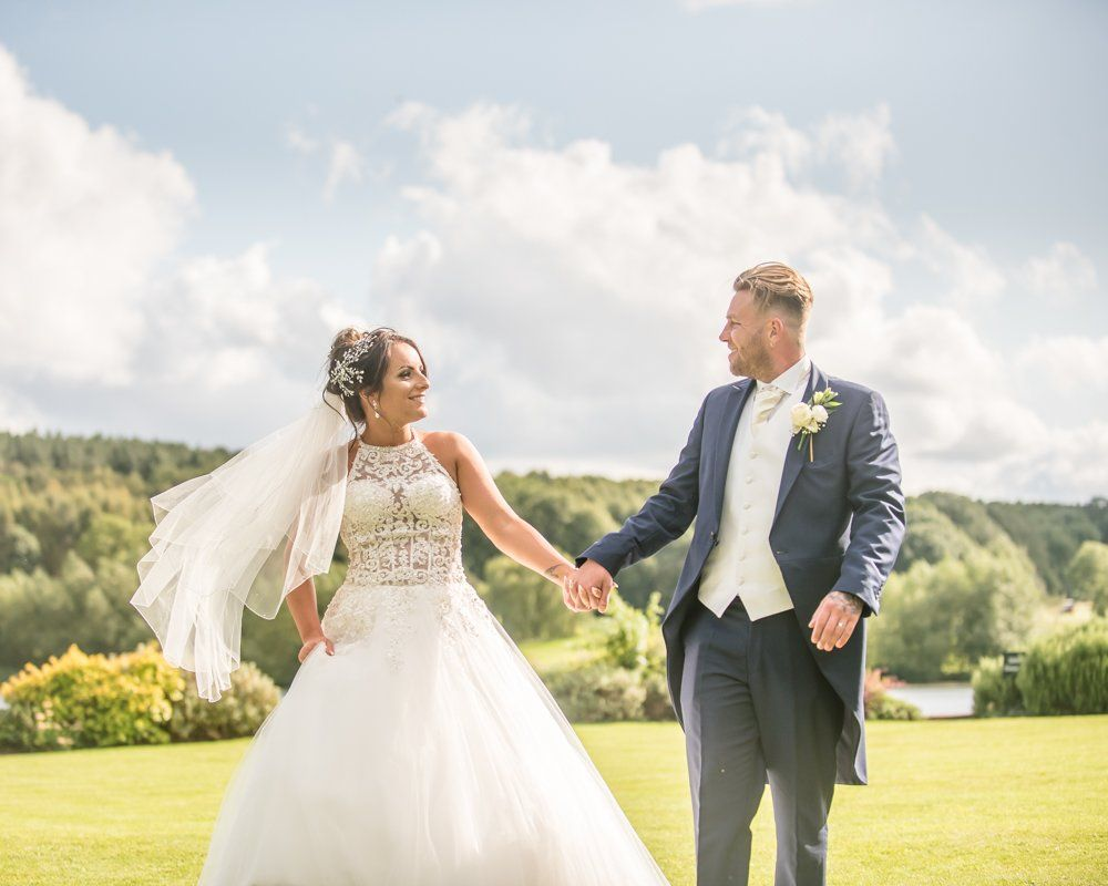 Walking in the grounds, Waterton Park Hotel weddings, Yorkshire wedding photographers