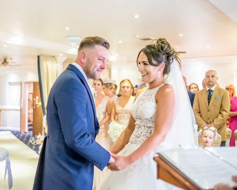 Ceremony laughter, Waterton Park Hotel weddings, Yorkshire wedding photographers