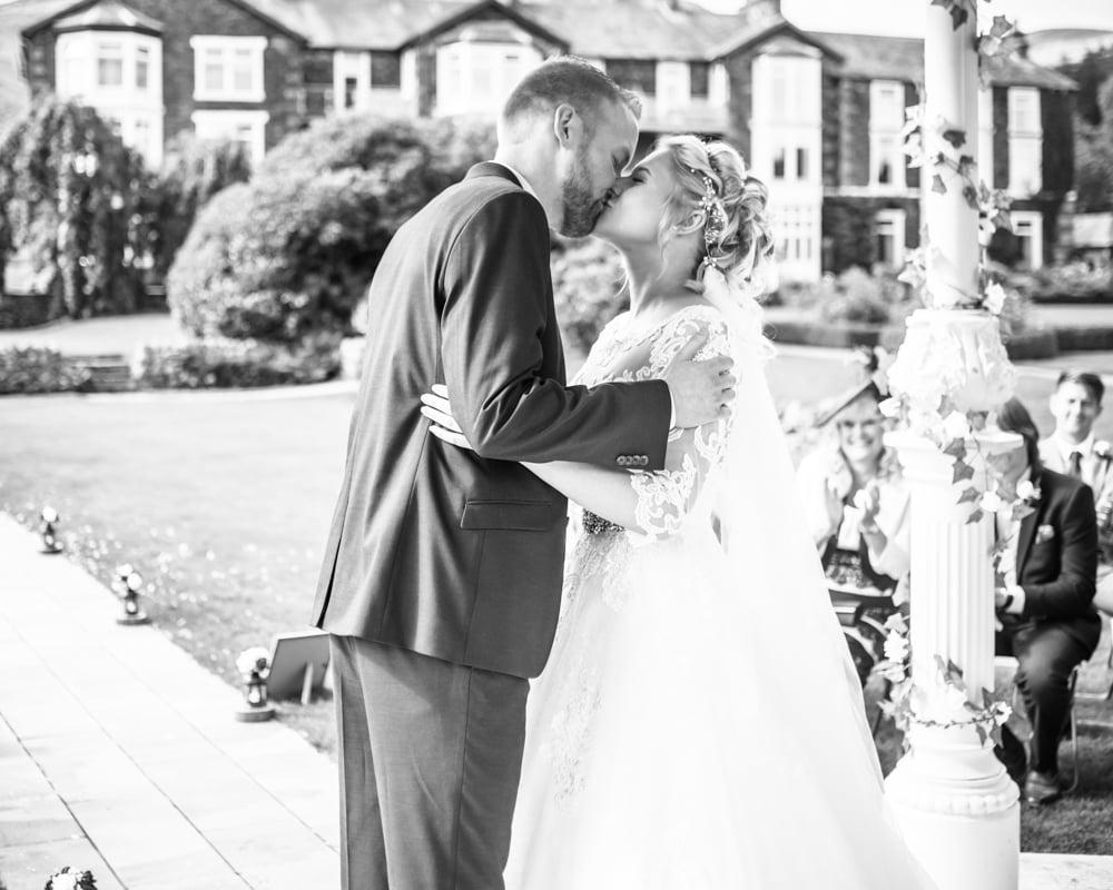 First kiss, Inn on the Lake Weddings, Lake District