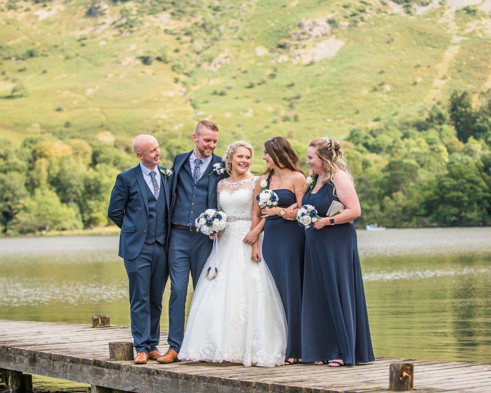 Bridal party on jetty, Inn on the Lake Weddings, Lake District
