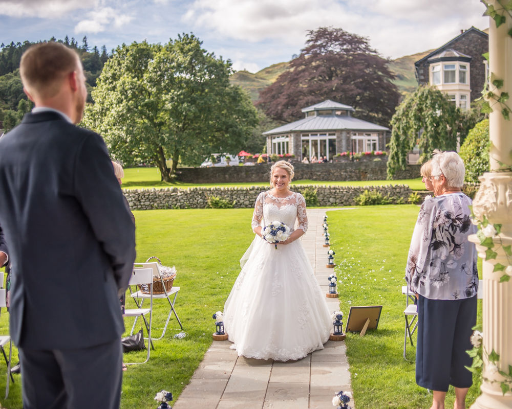 Sarah walking up the aisle, Inn on the Lake Weddings, Lake District