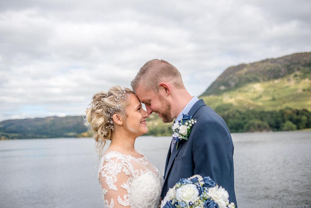 Head to head on jetty, Inn on the Lake Weddings, Lake District
