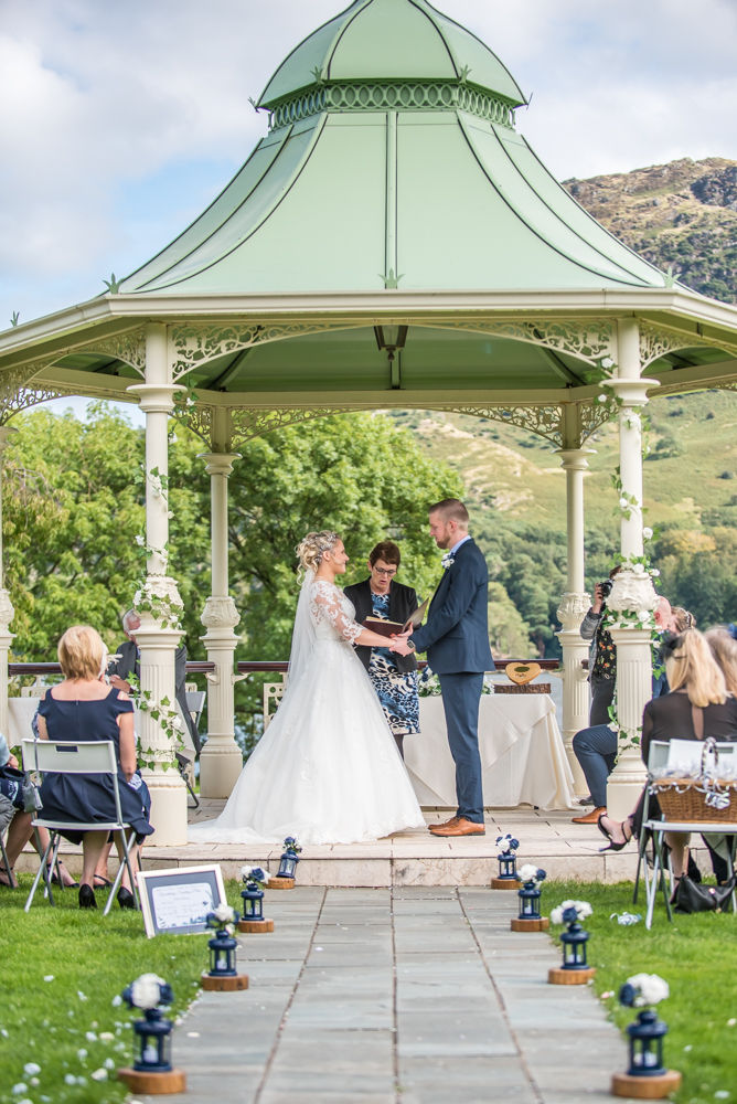 Ceremony under pagoda, Inn on the Lake Weddings, Lake District