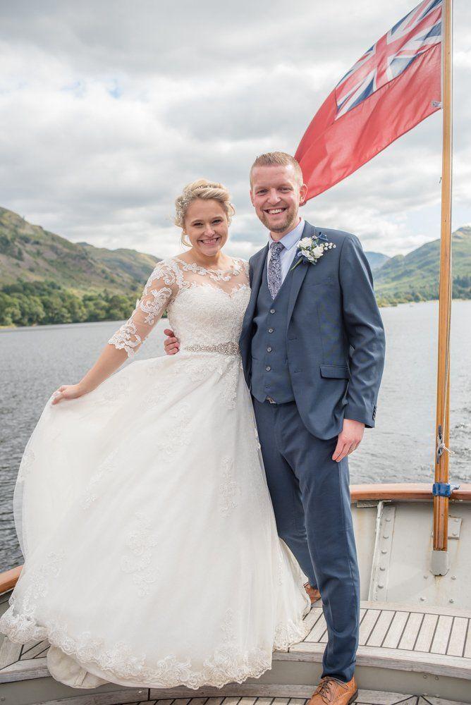 Bride and groom on steamer, Inn on the Lake Weddings, Lake District