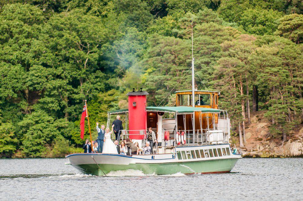 Ullswater steamer taken from jetty at hotel, Inn on the Lake Weddings, Lake District