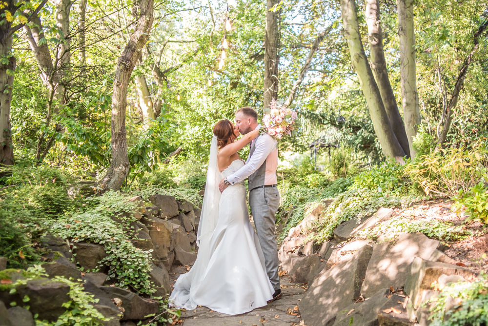 Wide angle of secret garden at Ringwood Hall, Ringwood Hall weddings, Sheffield photographers