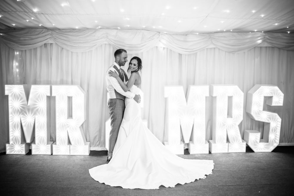 Mr and Mrs light up letters poses, Ringwood Hall weddings, Sheffield photographers