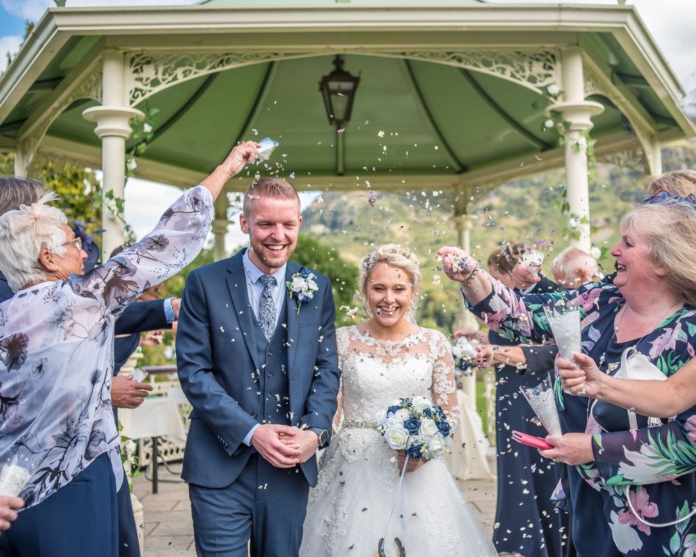 Confetti shot, Inn on the Lake, Ullswater, Lake District documentary wedding photographers