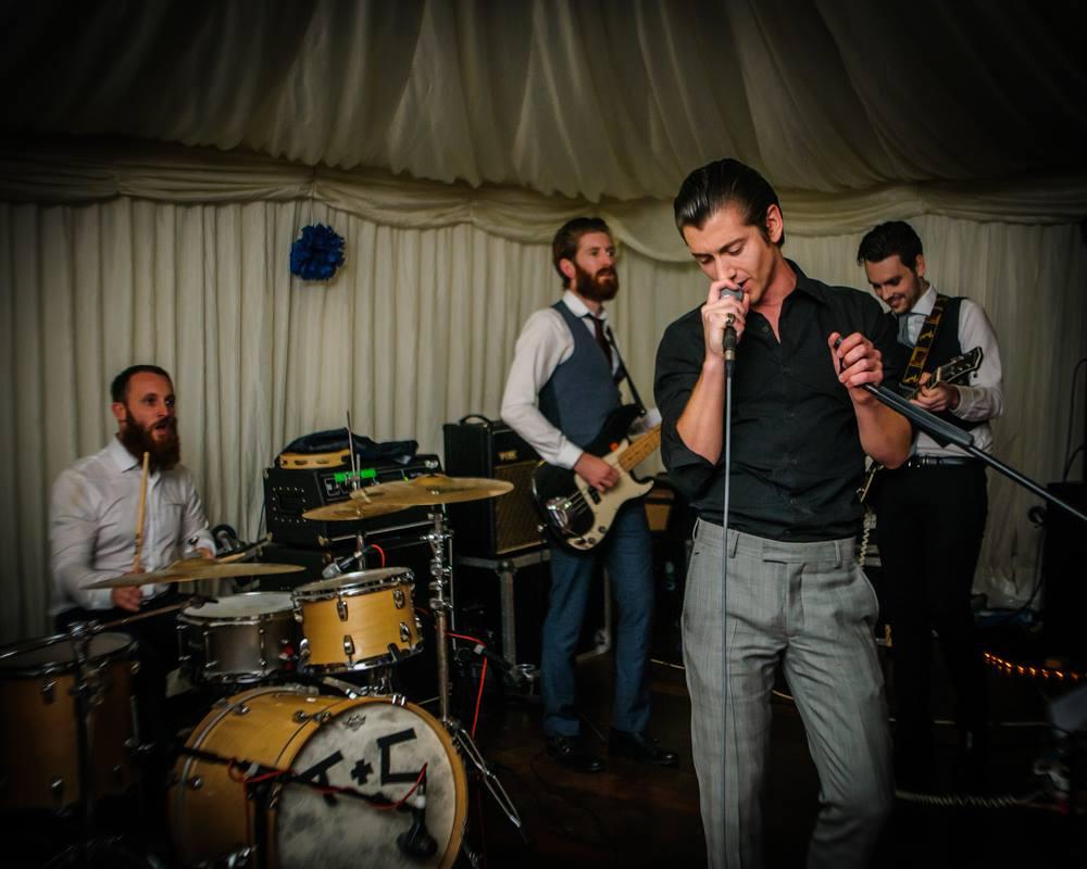 Arctic Monkeys band singing at wedding, Sheffield wedding photographers