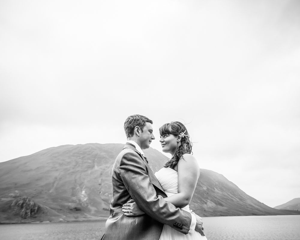 Bride and groom at Crummock Water, Lake District alternative wedding photographers