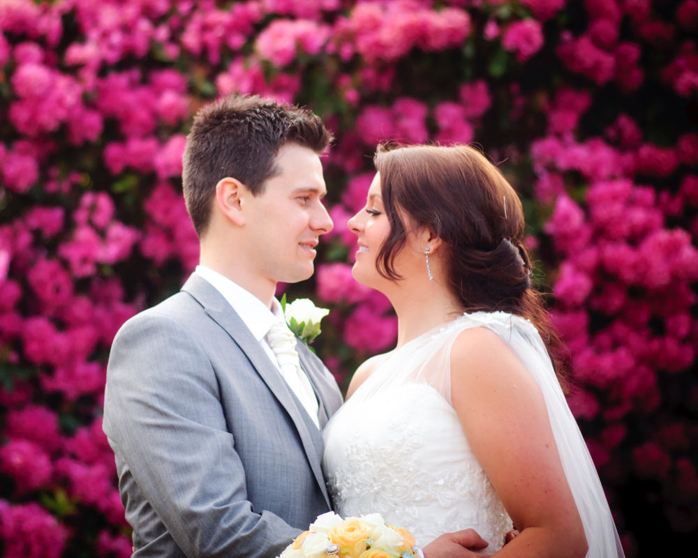 Elise and David in front of pink flowers, Wortley Hall, cheap wedding photographers Sheffield