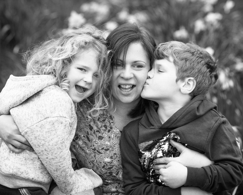 Helen and boys in daffodils, Sheffield female wedding photography
