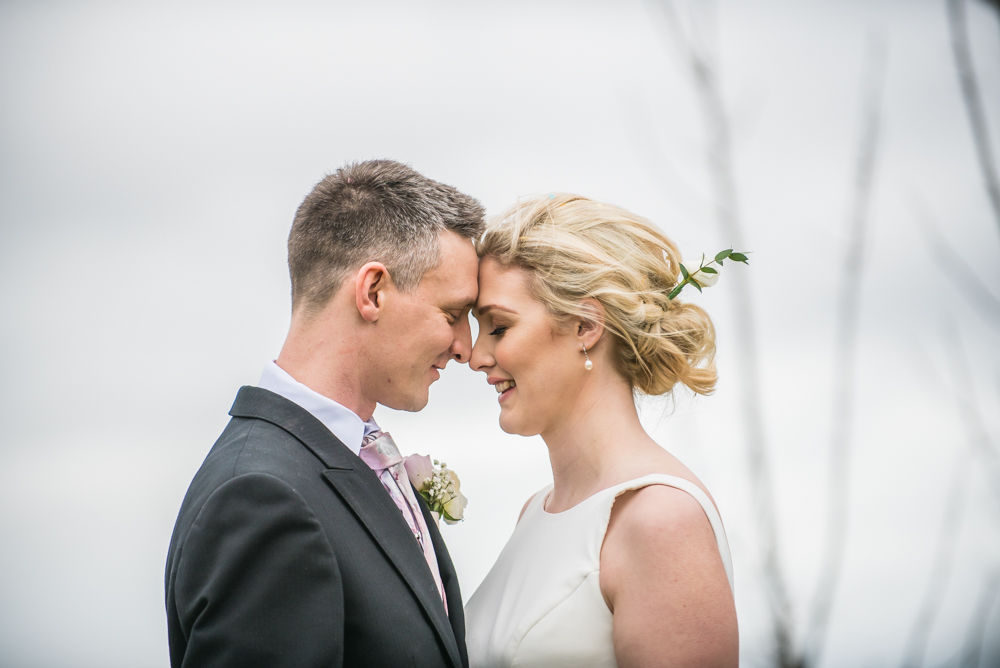 Bride and groom touching noses, Peppered Pig, Snaith wedding, Yorkshire photographer