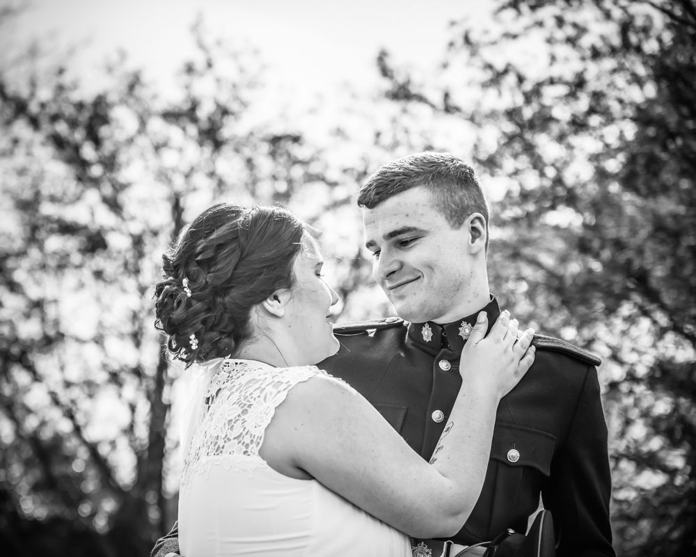 Stevie and Gregg looking at each other, Greens at Gretna, Gretna wedding photographers
