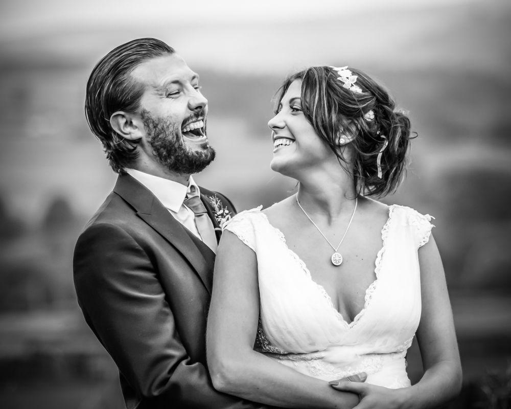 Tom and Chloe laughing, Sheffield alternative wedding photographers