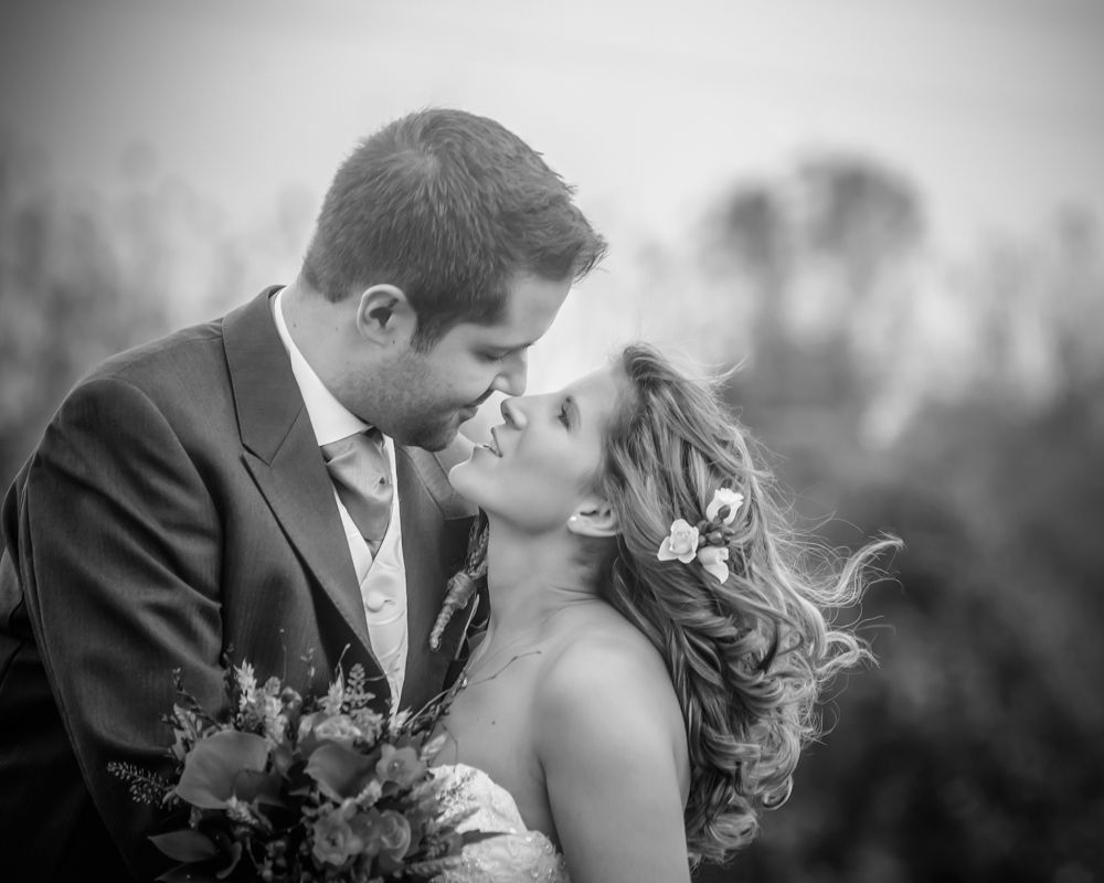 bride and groom looking at each other, autumn weddings, cheap wedding photographers Sheffield