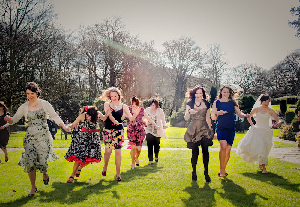 Egg and spoon race at wedding, Whitley Hall Sheffield
