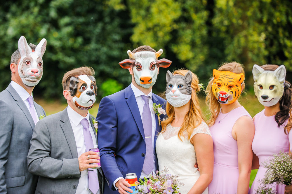 Bride and groom in animal masks, Sheffield Botanical Gardens