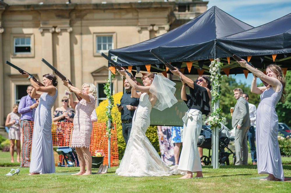 laser clay shooting at wedding at Wortley Hall, Sheffield