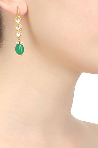 Kundan & Green Stone Drop Earrings With Gold Finish by Sonnet Jewellery