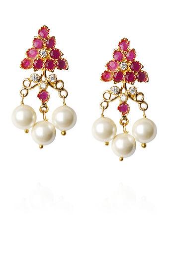 Gold Finish Earrings With Zircon & Pearl Drop by Sonnet Jewellery