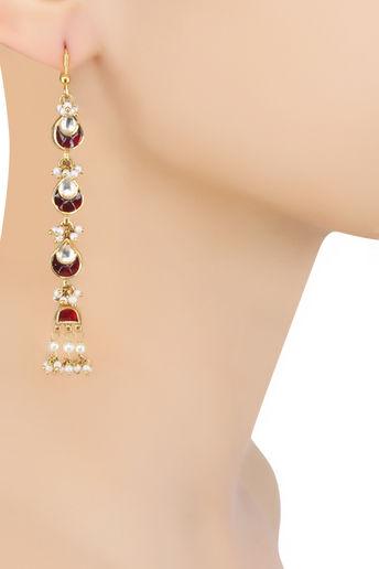 Gold Finish Maroon and Kundan Stones Long Earrings by Sonnet Jewellery