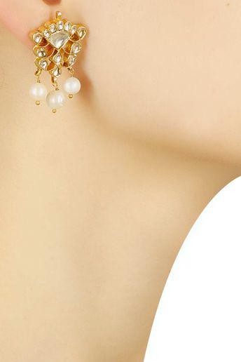 Gold Finish Stud Earrings With Kundan & Pearls by Sonnet Jewellery