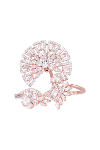Rose gold plated double finger diamond ring by Aster