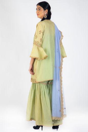 Jade Green Embroidered Sharara Set With Violet Net Dupatta by Casa 9