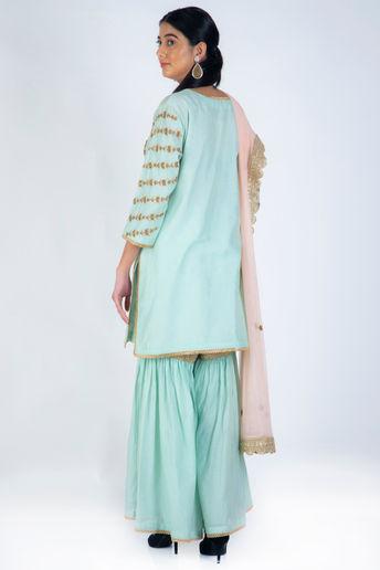 Aqua Blue Embroidered Sharara Set With Pink Net Dupatta by Casa 9