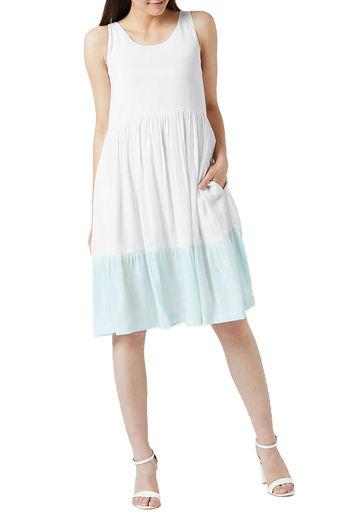 White & Blue Gathered Dress