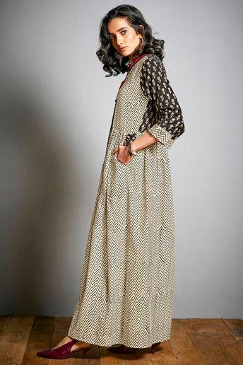 Cream Hand Block Print Cotton Dress In Chevron Pattern by House Of Idar