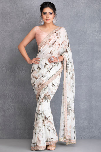 Ivory Botanical Printed Saree & Blouse With Border Work by  House of Tushaom