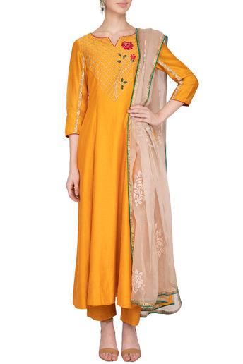 Apricot Yellow Embroidered Anarkali Set