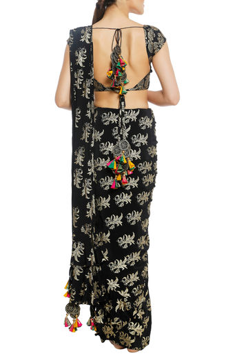 Black Pre-Stitched Ruffles Printed Saree with Blouse Piece by Masaba